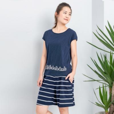 【白鵝buyer】 純棉兩件式台灣製休閒套裝_英文藍