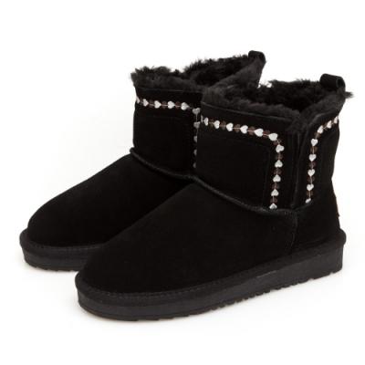 JMS-暖冬序曲-經典素面民族風鋪毛雪靴-黑色