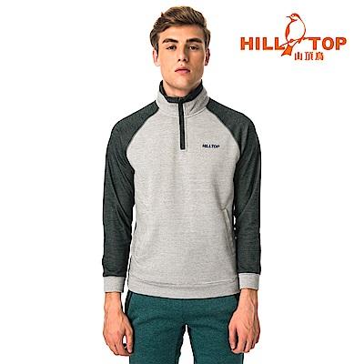 【hilltop山頂鳥】男款遠紅外線發熱保暖刷毛半開襟上衣H51MH6原樣灰