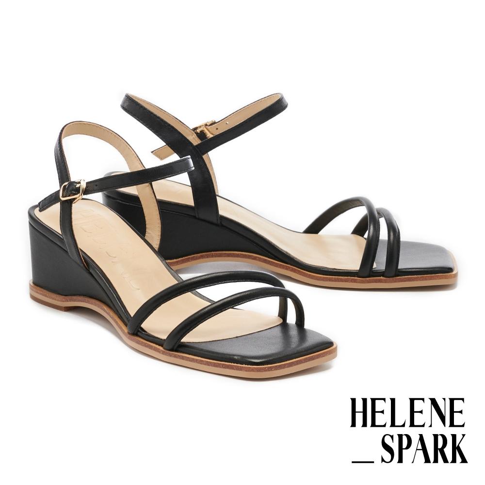 涼鞋 HELENE SPARK 簡約時尚純色圓滾繫帶方頭楔型高跟涼鞋-黑