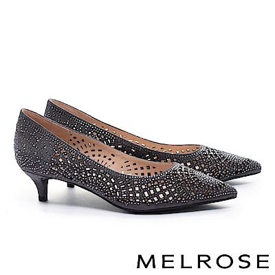 高跟鞋 MELROSE 璀璨耀眼迷人羊麂皮尖頭高跟鞋-灰