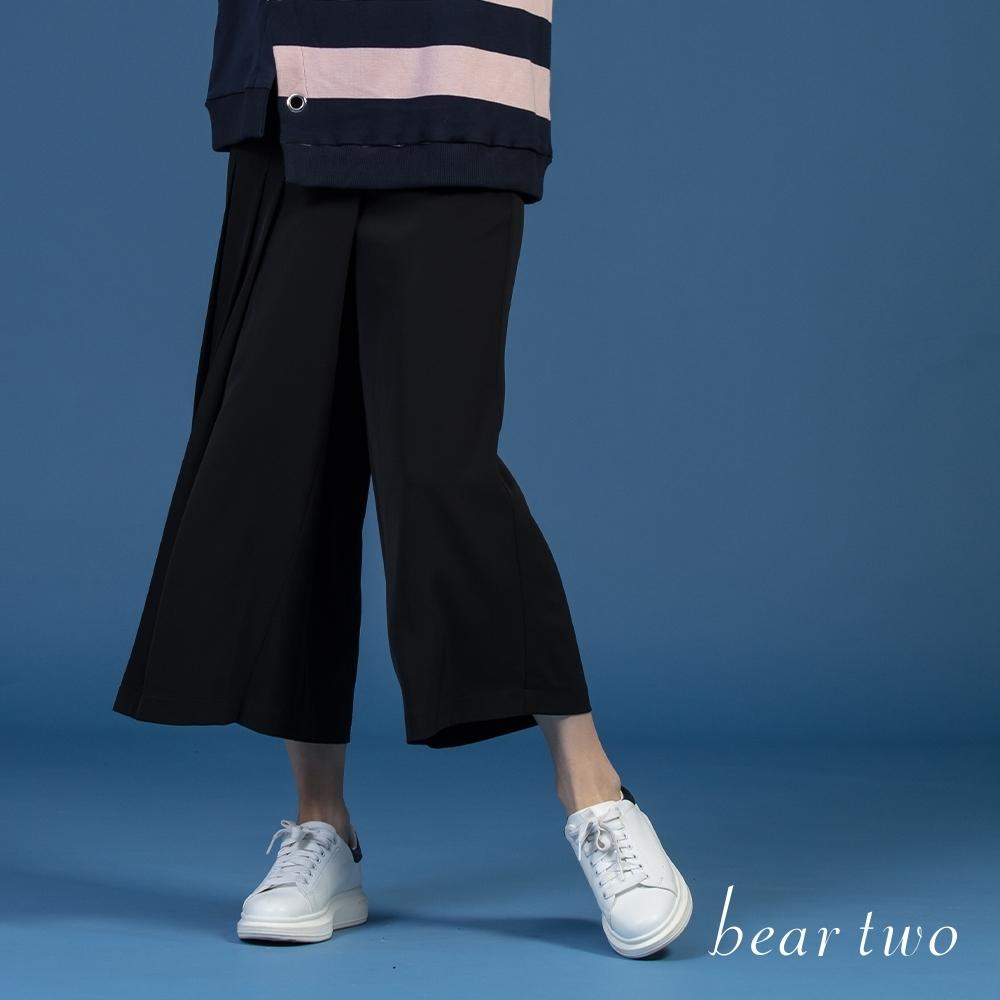 bear two-簡約百摺垂墜寬褲-黑
