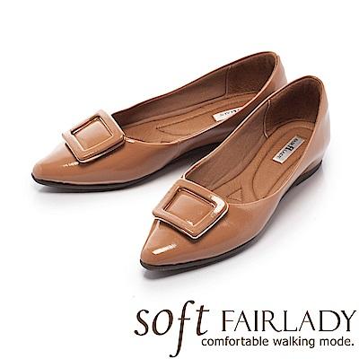 Fair Lady Soft芯太軟 質感框飾亮皮尖頭低跟鞋 卡其