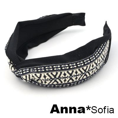【滿額再7折】AnnaSofia 薩爾織帶璇結 韓式寬髮箍(酷黑系)