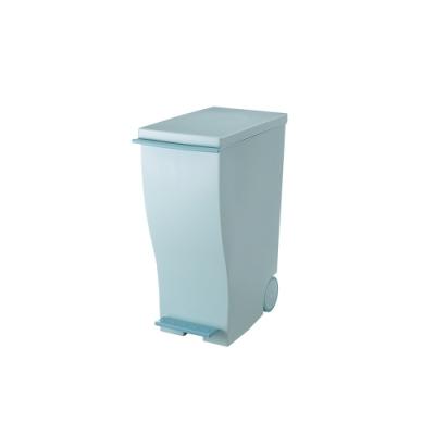 日本岩谷Iwatani 純色曲線長型可分類腳踏垃圾桶(附輪)-33L