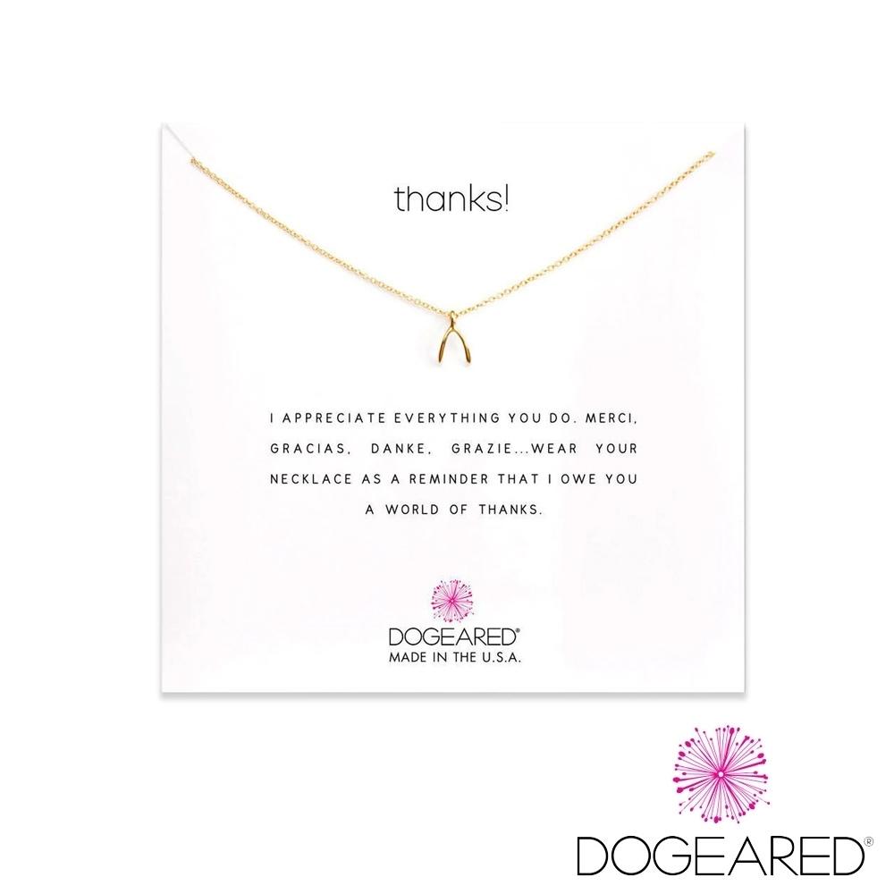 美國DOGEARED Thanks鍍金許願骨祈願項鍊 Thanks ! Necklace ,Teeny Wishbone