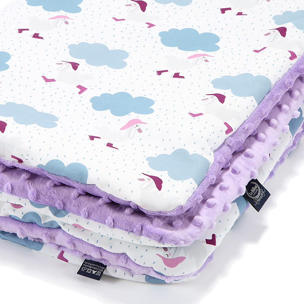 La Millou 暖膚豆豆毯(加大款) 雨點達達鴨(粉紫馬卡龍)