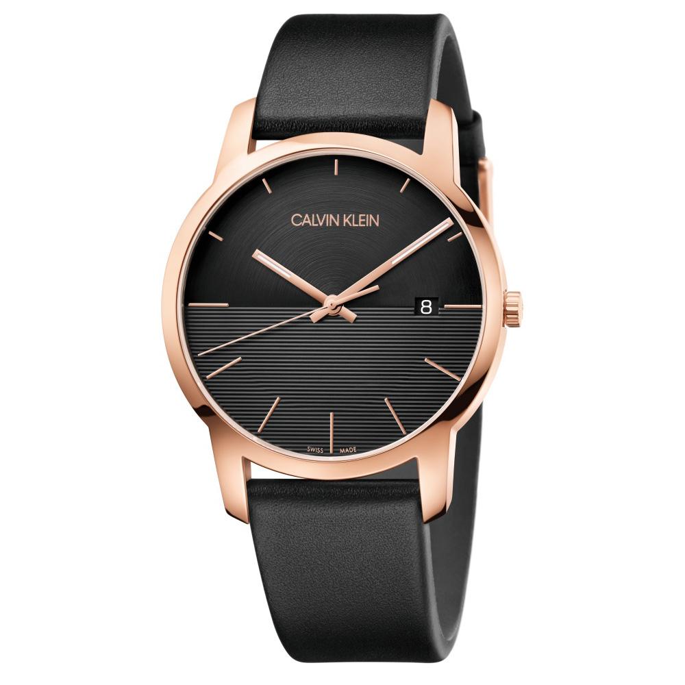 CALVIN KLEIN City都會系列大三針鍍PVD玫瑰金款手錶-43mm