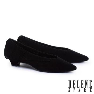 低跟鞋 HELENE SPARK 輕奢時髦流蘇全真皮尖頭低跟鞋-黑