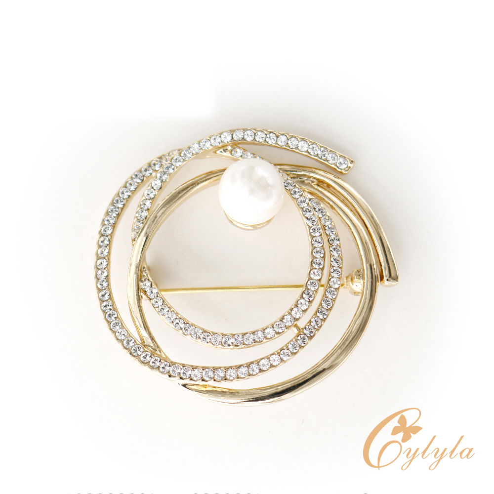 Cylyla思琳娜 施華洛世奇元素圓舞曲珍珠胸針B-1130G @ Y!購物