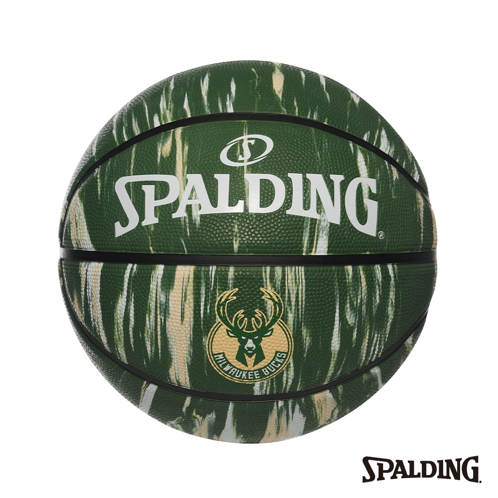 SPALDING 斯伯丁 NBA 隊徽球 大理石印花系列-公鹿 RUBBER 籃球 7號