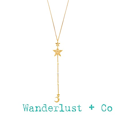 Wanderlust+Co Stella 金色星星套索項鍊