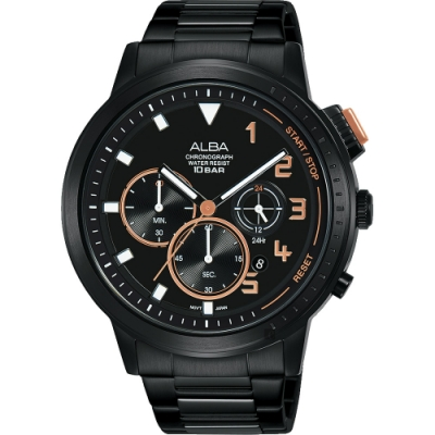 ALBA 雅柏 IG廣告款 自我表態計時男錶(AT3F39X1)-黑44mm