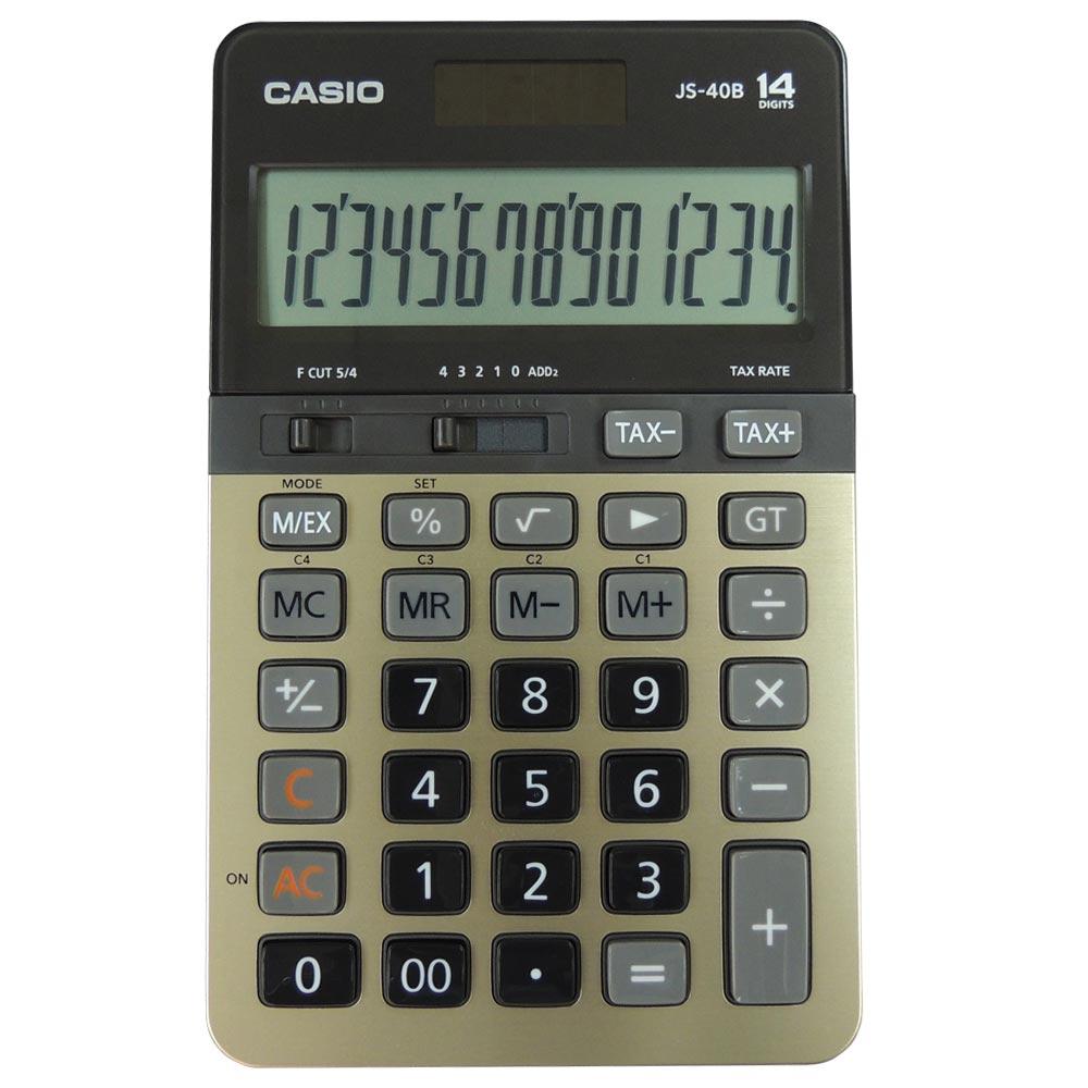 CASIO卡西歐14位元商用桌上型計算機-JS-40B-GD(黑/金)