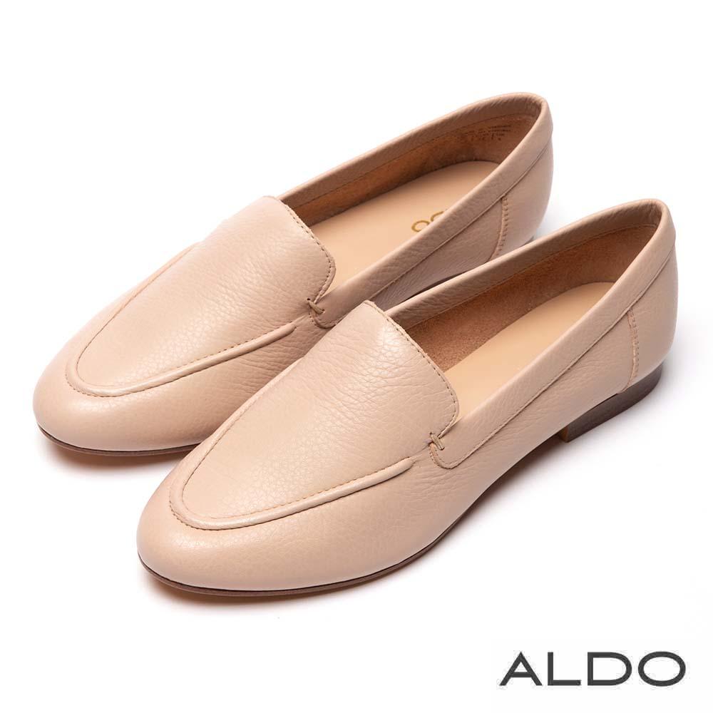 ALDO 原色真皮百搭木紋跟樂福鞋~優雅裸色