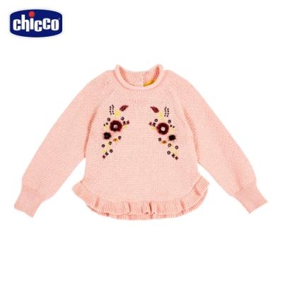 chicco-秋之花園-棉毛混紡繡花針織上衣