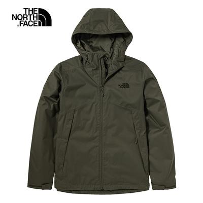 The North Face北面男款綠色防水透氣連帽衝鋒衣|4U7Z21L