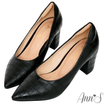 Ann'S加上優雅高跟版-石頭紋沙發後跟高跟尖頭鞋-黑