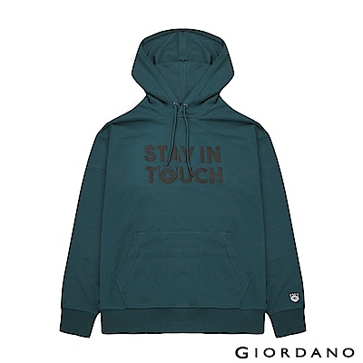 GIORDANO 男裝STAY IN TOUCH 落肩印花口袋帽TEE-26 池影藍