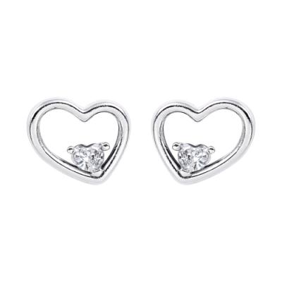 Pandora 潘朵拉 閃耀鑲鋯不對襯愛心造型 純銀耳環