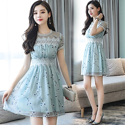 DABI 韓系時尚蕾絲網紗拼接印花收腰顯瘦短袖洋裝