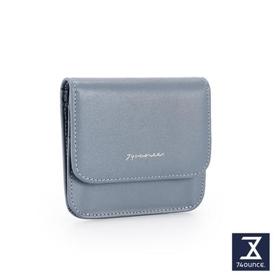 74盎司 Elegant-C真皮壓釦卡片零錢包[LN-769-EL-W]藍灰