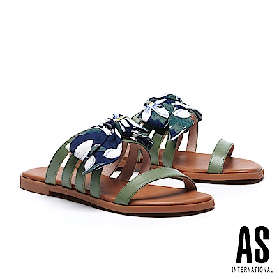 拖鞋 AS 熱帶度假風蝴蝶結印花繫帶牛皮拖鞋-綠