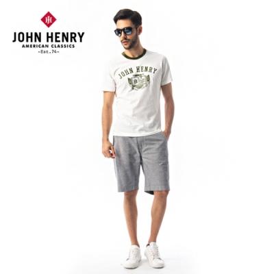 【JOHN HENRY】休閒棉質綁帶短褲-灰