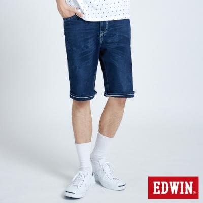 EDWIN JERSEYS 迦績 PK EJ3 透氣中腰寬鬆 牛仔短褲-男-中古藍