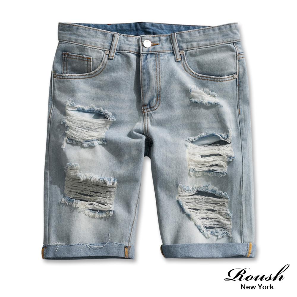 Roush 水洗刷破抽鬚淺藍牛仔短褲
