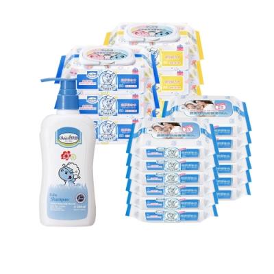 限定貝恩Baan 嬰兒保養柔濕巾80抽6入+20抽12入+寶貝貝恩 Baby BAAN 嬰兒洗髮精*1