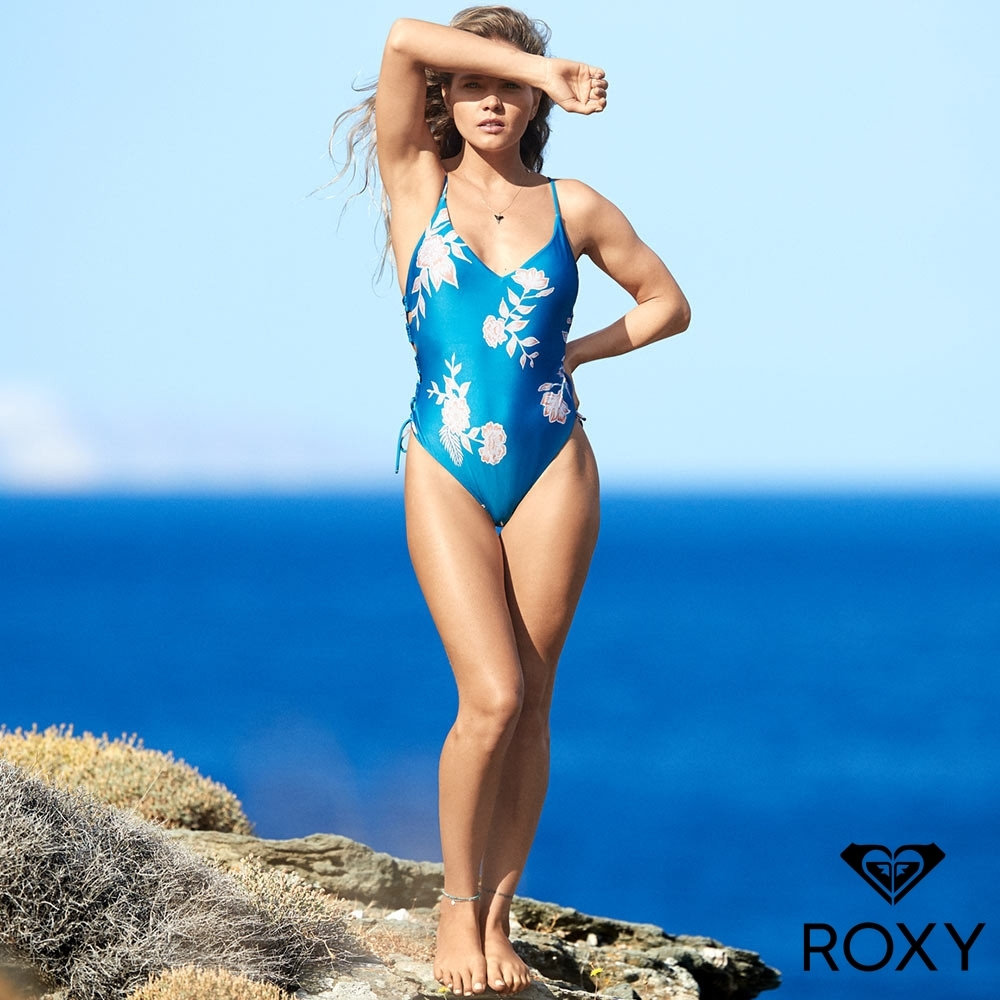 【ROXY】RIDING MOON 印花挖背側綁帶一件式泳裝 藍