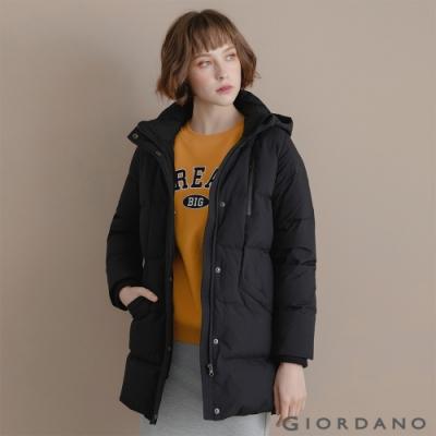 GIORDANO 女裝中長版連帽羽絨外套 - 09 標誌黑