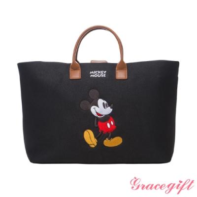 Disney collection by grace gift-唐葳設計迪士尼米奇2WAY帆布包 黑
