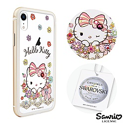 三麗鷗 Kitty iPhone XR 6.1吋施華彩鑽鋁合金屬框手機殼-緞帶凱蒂