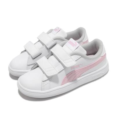 Puma 休閒鞋 Smash v2 L V Inf 童鞋 魔鬼氈 皮革鞋面 穿搭推薦 小童 白 粉 36517428