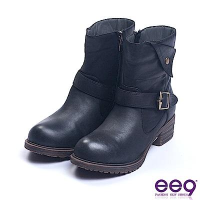 ee9 經典手工繫帶百搭素面粗跟短靴 黑色