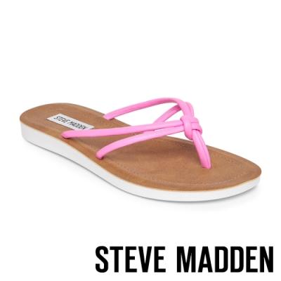 STEVE MADDEN-ALLOW 簡約亮彩扭結T字平底拖鞋-霓粉