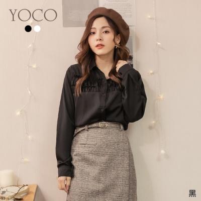東京著衣-YOCO 網紅推薦荷葉抓皺設計雪紡上衣
