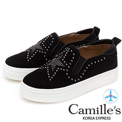 Camille's 韓國空運-正韓製-鉚釘五角星麂皮絨厚底懶人鞋-黑色