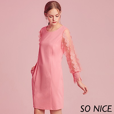 SO NICE甜美蕾絲燈籠袖羅馬布洋裝