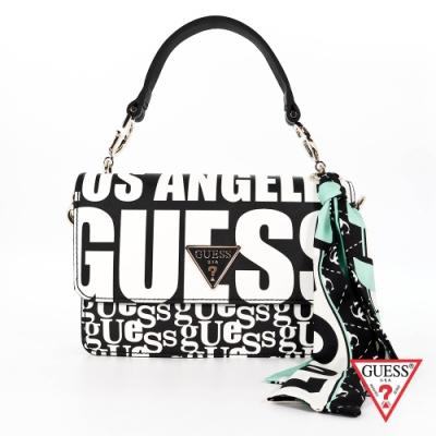 GUESS-女包-美式滿版LOGO手提斜背包-黑