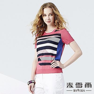 【麥雪爾】變化條紋色織針織衫-桃紅