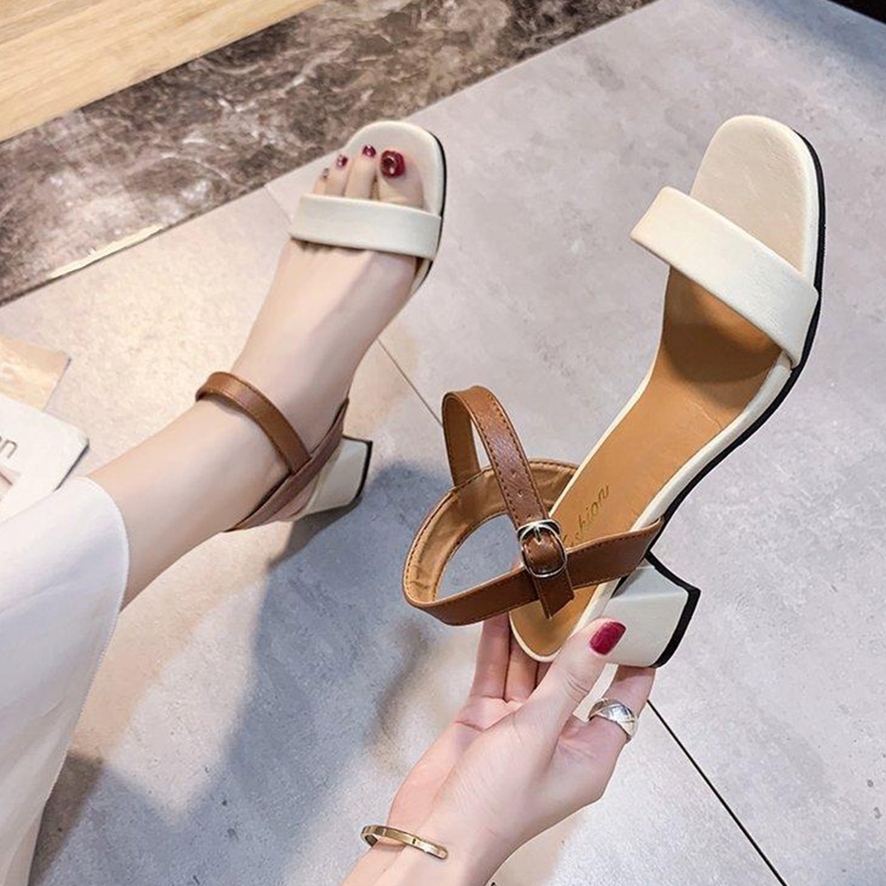 KEITH-WILL時尚鞋館 獨家價賣瘋了小厚跟美腿涼鞋-米