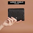 Maria Carla手拿皮夾-羊皮V線條扣式中夾_完美格調、迷漾輕時尚系列(霧黑)