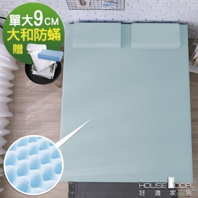 House Door 大和防蹣抗菌9cm藍晶靈涼感記憶床墊保潔超值組-單大