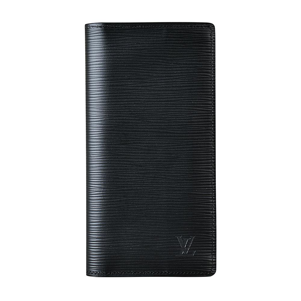 LV M60622經典BRAZZA系列LV壓紋LOGO EPI牛皮直立對折長夾(黑)LV路易威登