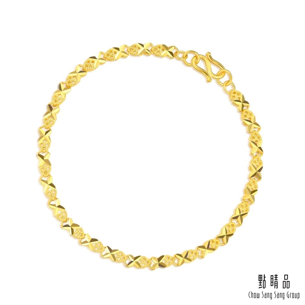 【點睛品】足金9999 機織素鍊 十字鑽砂 黃金手鍊19cm_計價黃金