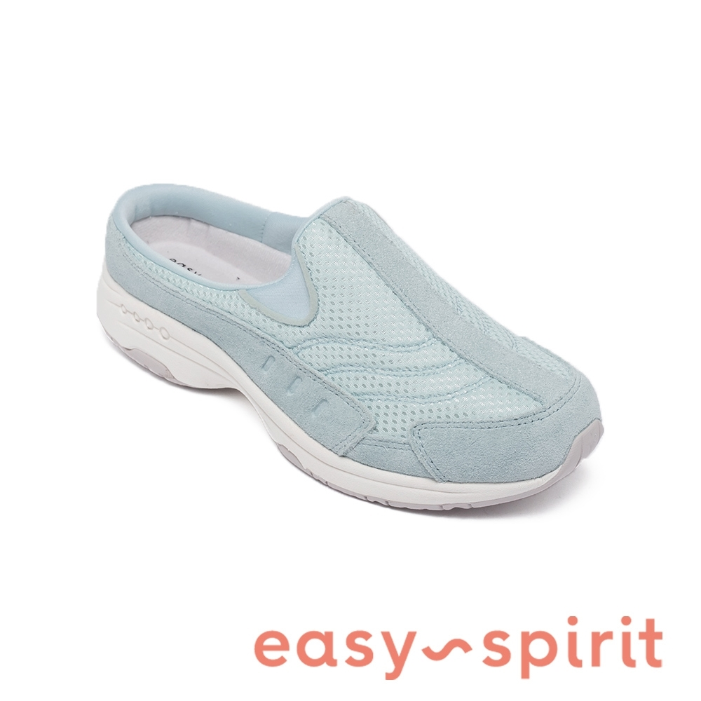 Easy Spirit-seTRAVELTIME90 真皮舒適懶人休閒拖鞋-淺藍