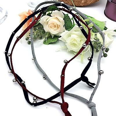 Hera 赫拉 手工釘珠珍珠彈性頭帶/髮帶-五色